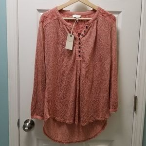 Lucky Brand Flowy Embroidered Henley Top NEW